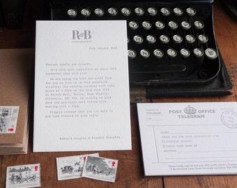 Remington Typewriter Letterpress Wedding Invitation