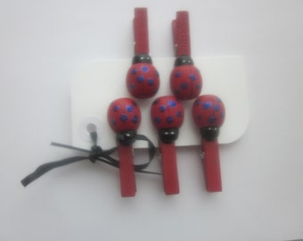 LADYBUG CLOTHESPIN CLIPS Red and Blue Glitz (Set of 5)
