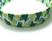 """Green Shamrock, Clover 1"""" Woven St. Patrick's Day Headband - Handmade Ribbon Braided Headband"""
