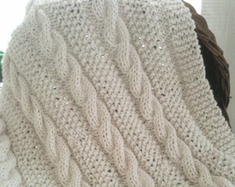 Baby blanket - Knitted - Cotton - Offwhite, Jute, Eggshell