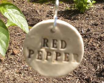 Handmade Ceramic Red Peppers Plant Marker