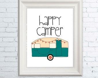 Wall Art Print, Happy Camper Wall Art, Kid Wall Art, Cute Wall Art