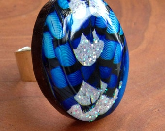 Blue Jay Feather Ring