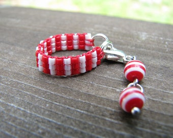 Red and white stripes Pullip & Blythe Fashion Doll Choker Necklace