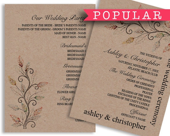 Printable Fall Rustic Wedding Program Template by VGInvites