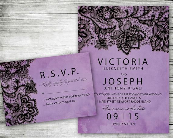 Wedding Invitation Purple Black Lace Printable Invite Set