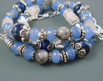 Wrap Bracelet, Mix of Chalcedony, Moonstone, Rutilated Quartz and Lapis Lazuli Gemstone and Silver Plated Beads