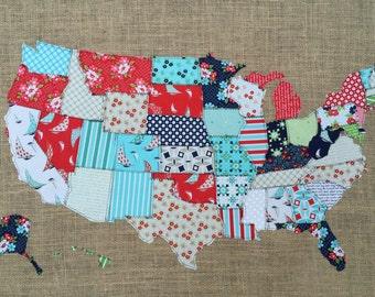 Fabric Map, United States, Scrap map, Moda fabric, Day Sail
