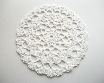 Crochet Doily White Cotton Lace Table Topper with Scalloped Edge Heirloom Quality