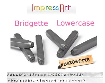 BRIDGETTE LowerCase Letter Alphabet Metal Stamp Set 3mm Font 1/8 inch ImpressArt Jewelry Stamps Hand Stamping Tools Lower Case