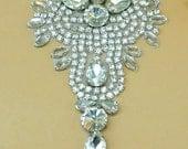 "DH9 Designer Crystal Glass Rhinestone Silver Beaded Applique 4.75"" (DH9-slcr)"