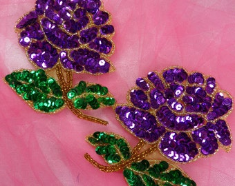 0074 Purple Rose Mirror Pair Sequin Beaded Floral Appliques  (0074X-pur)
