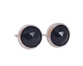 Tiny Gemstone Stud Earrings - Black garnet