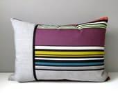 Modern Grey Striped Outdoor Pillow Cover, Decorative Pillow Cover, Silver Gray & Plum Retro Sunbrella Cushion Cover, Mazizmuse
