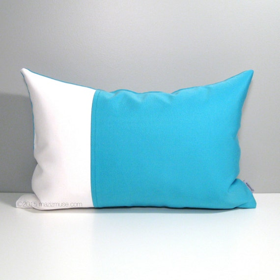 Bright Blue Decorative Pillow : Bright Blue Outdoor Pillow Cover Scuba Blue Color by Mazizmuse