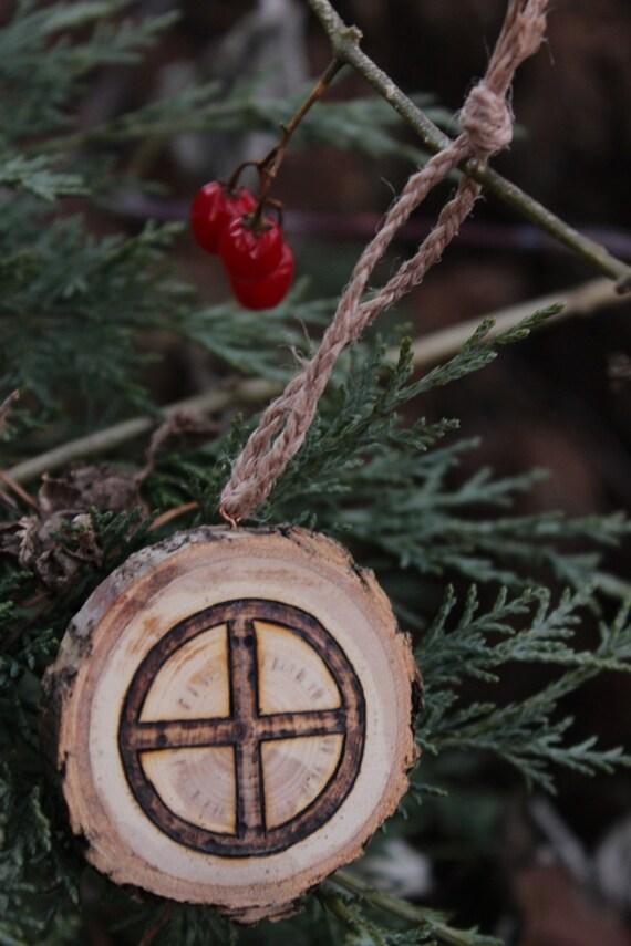 Woodburned Norse Viking Symbol Wood Holiday Ornament Sun Wheel