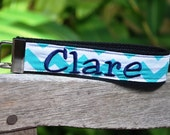 Custom Embroidered Chevron Key fob, Wristlet Keychain, - you pick the name or monogram