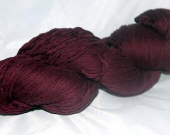 30% off STORE CLOSING SALE Deep Plum Purple Recycled Cotton Yarn, Worsted Yarn - 364 Yards