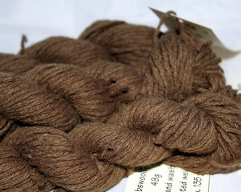 30% off STORE CLOSING SALE Upcycled Moss Brown Lambswool Blend Yarn, Worsted Yarn - 270 Yards