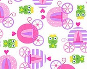 Princess Life Fabric by Anne Kelle Pink Cinderella Carriages with a Frog Prince Spring