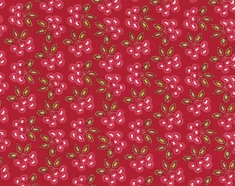 Love And Joy Christmas Holiday by Dena Fishbein Fabric 157 Cherry Heart Hearts Cherries on Red