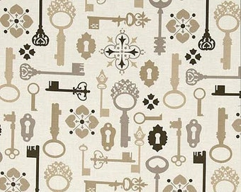 Lock and Key Fabric by Michael Miller Vintage Old Fashioned Skeleton Keys on Tan Cream