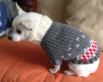 Bulky Dog Sweater - Grey & Red (GR0207)