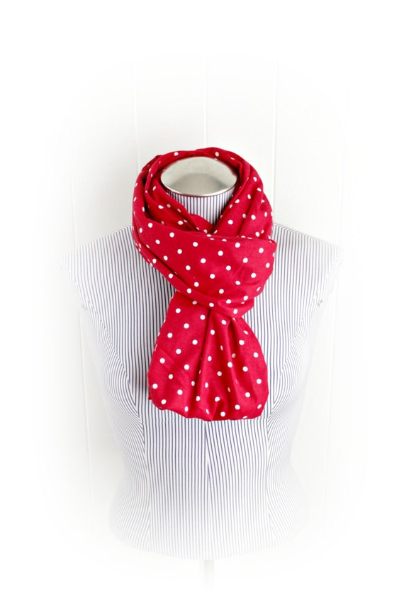 Red and White Polka Dot Flannel Infinity Scarf