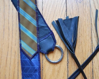 SALE - Foundry Necktie Belt made from recycled leather and silk neckies