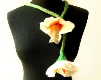 SALE felt flower fiber white summer necklace lariat