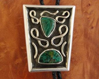 Silver Southwestern Bolo Tie Malachite
