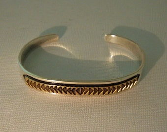 M M Rogers Bracelet Navajo Cuff 925 14K PETITE