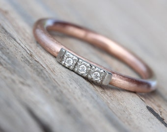 Vintage Inspired Wedding Band Diamond Rose Gold Platinum Pink Gray Romantic Modern Minimalistic - Glow Row de Luxe