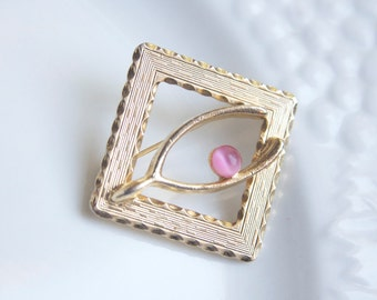 Lucky Wishbone Brooch, Pin, Goldtone With Pink Glass, Little Something, Gift For Mom or Grandma