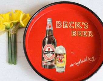 Beer Tray, Drink Tray, Beck's Beer, Red Tin Tray, German Man Cave Decor, Beer Advertising Tray, Wall Decor, German Beer, Red and Yellow