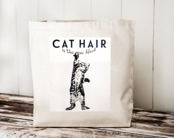 CAT HAIR is the new black --  Gray Kitten with Blue Eyes - Carryall Tote - School Bag - Canvas Bag
