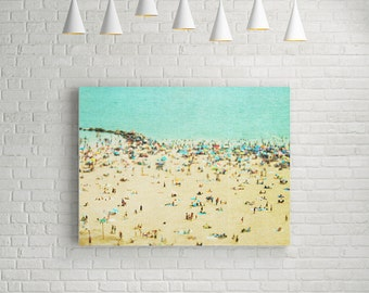 Large Art Canvas Print // Beach Day // Extra Large Canvas Wall Art // Turquoise Green, Blue and Sand Large Photograph // Beach People