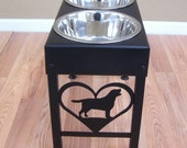 Labrador dog feeder stand elevated bowls lab metal art silhouette