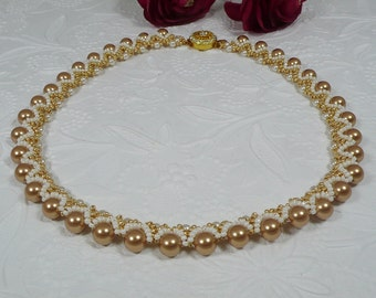 Woven Necklace Embellished Golden Pearl