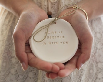 Ring bearer pillow alternative Wedding ring dish - Ring bearer Wedding Ring pillow Home is wherever I'm with you