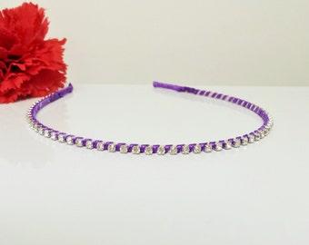 Perfect Purple Satin Ribbon Enhanced Rhinestone Bridal Headband for Bridesmaid, Prom, Flower Girl or Wedding Party