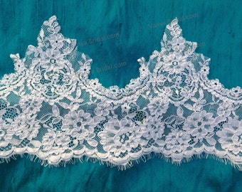 Chantilly lace with eyelashes and scalloped edge for bridal dresses and wedding projects. Re-embroidered lace for sewing and craft  projects