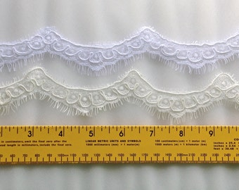"Alencon lace, Re-embroidered  french alencon Lace 1"" width, lace trim for bridal veils, wedding dresses and craft projects"