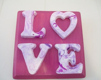 LOVE Sign - wood and plaster - magenta and purples