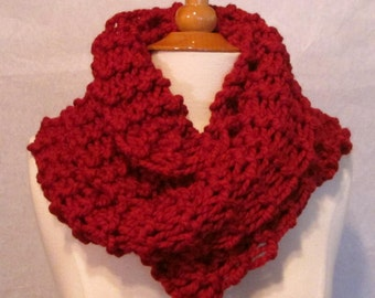 Plush Infinity Scarf Cowl in Cranberry Red