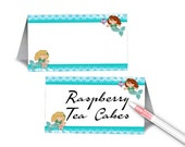 Set of 12 Blank Table Tent Place Cards, Mermaids Theme, Birthday Party, Under the Sea Party
