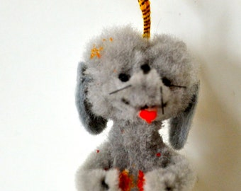 Vintage Wooly Wired Miniature Dog Ornament