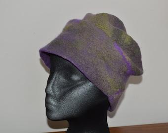 Hand made nuno felted merino wool and 3mm silk bucket hat