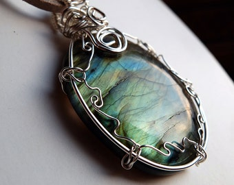 labradorite necklace, wire wrapped statement pendant, suede, natural labradorite, turquoise green rainbow flash, unique, ooak