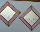 Pair Pink Stained Glass Etched Flowers on Mirror Wall Hanging Brass Holder, Home Decor, Square Glass Panels, Etched Flowers
